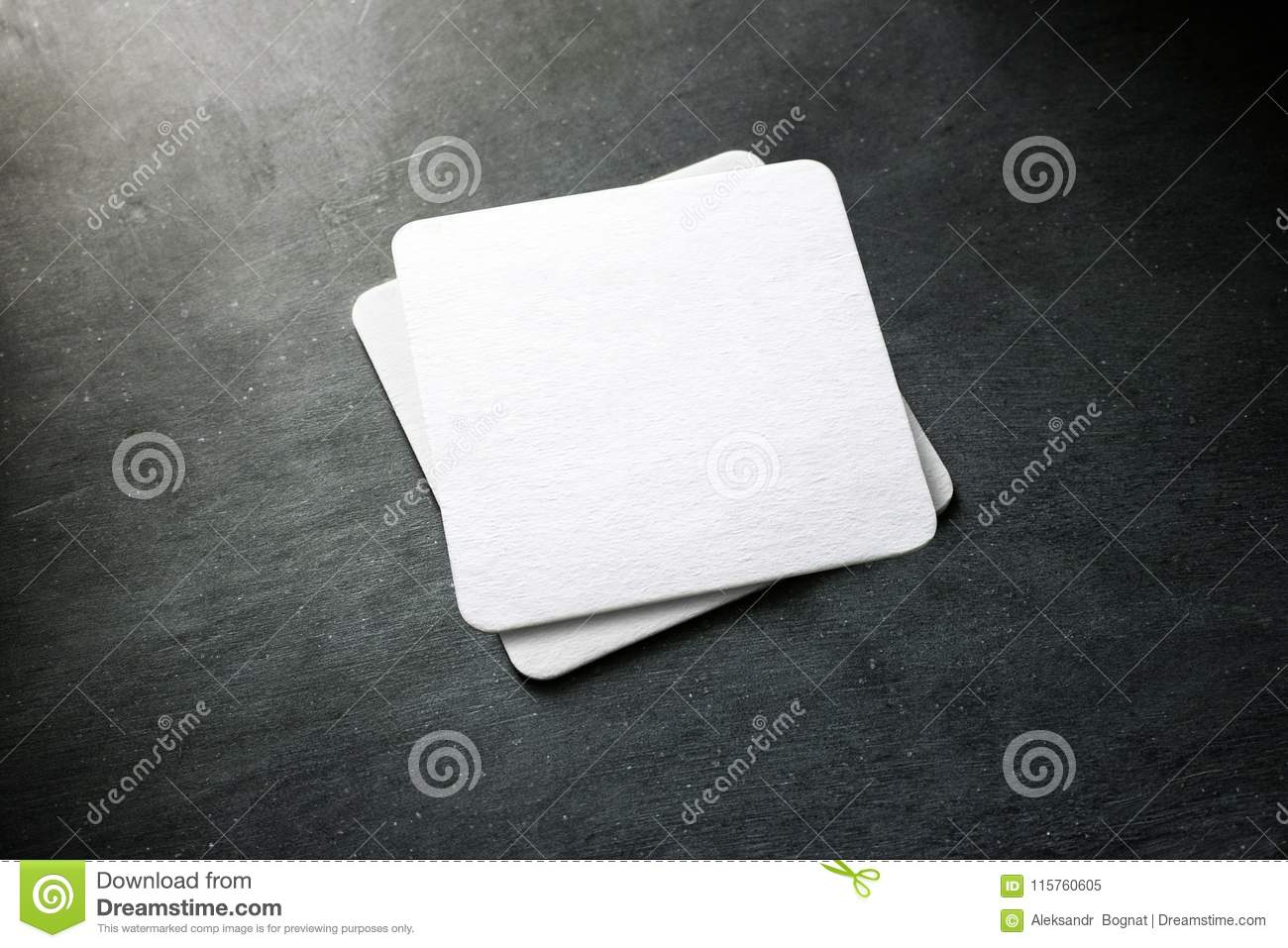 Blank white beer coaster stack mockup, top view