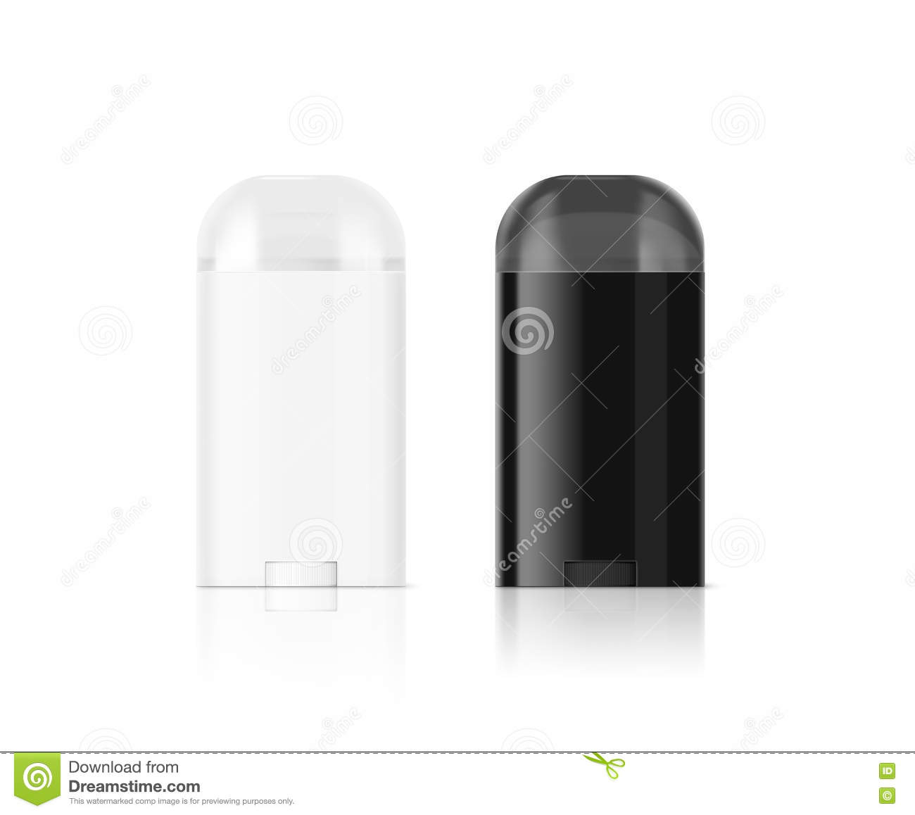 Blank white and black deodorant stick bottle mockup , clipping path