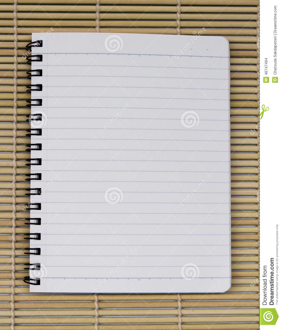 Blank White Blue Line Paper Realistic Spiral Notepad