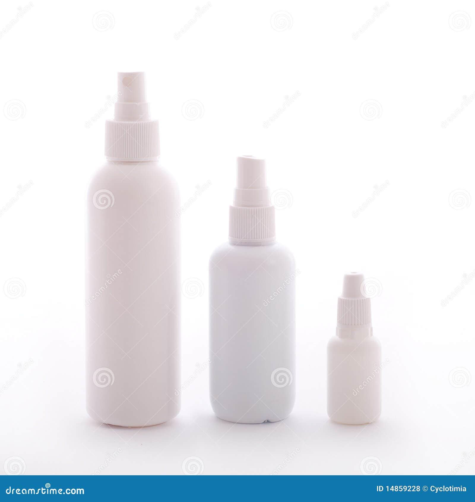 Blank white bottles