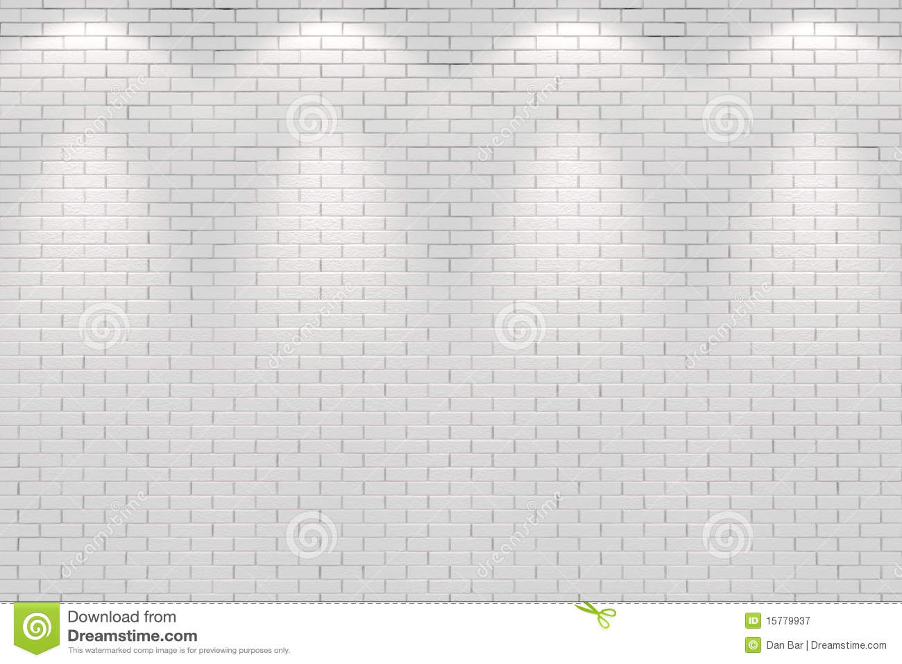 Blank white brick wall lit by four spot lights royalty for Four blank walls