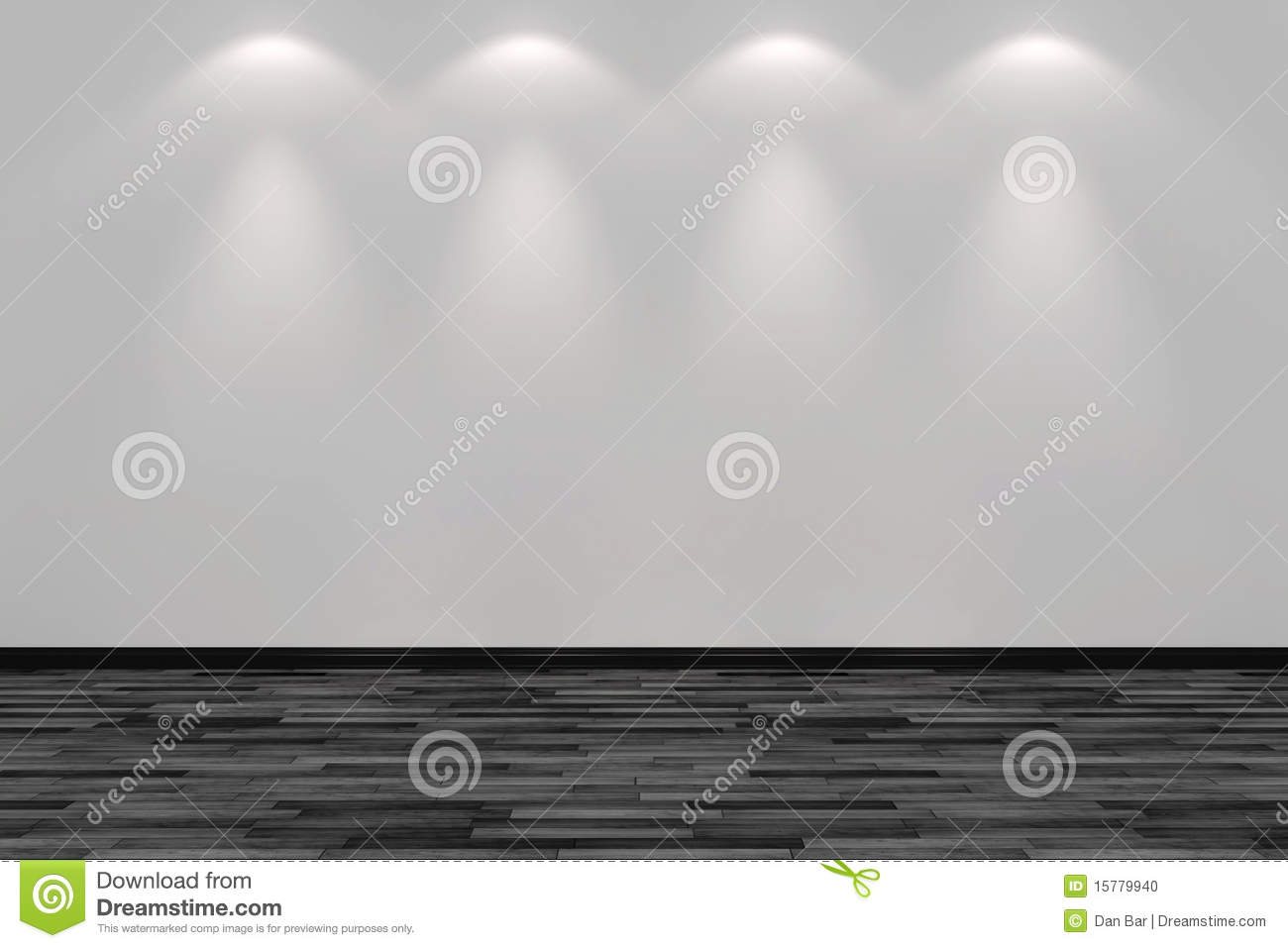 Blank white brick wall lit by four spot lights stock for Four blank walls
