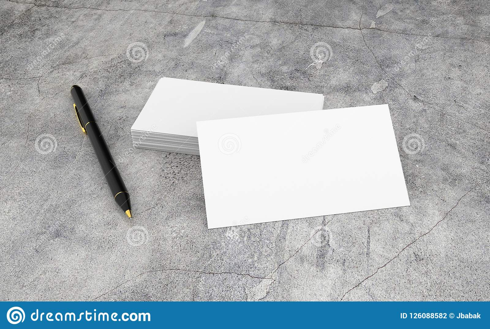 Blank white business card presentation of corporate id with black download blank white business card presentation of corporate id with black pen on concrete desk stock colourmoves