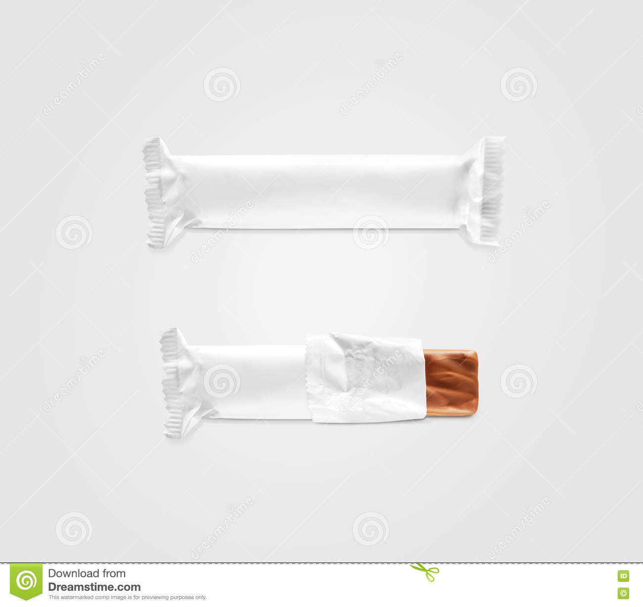 blank white candy bar plastic wrap mockup   stock photography