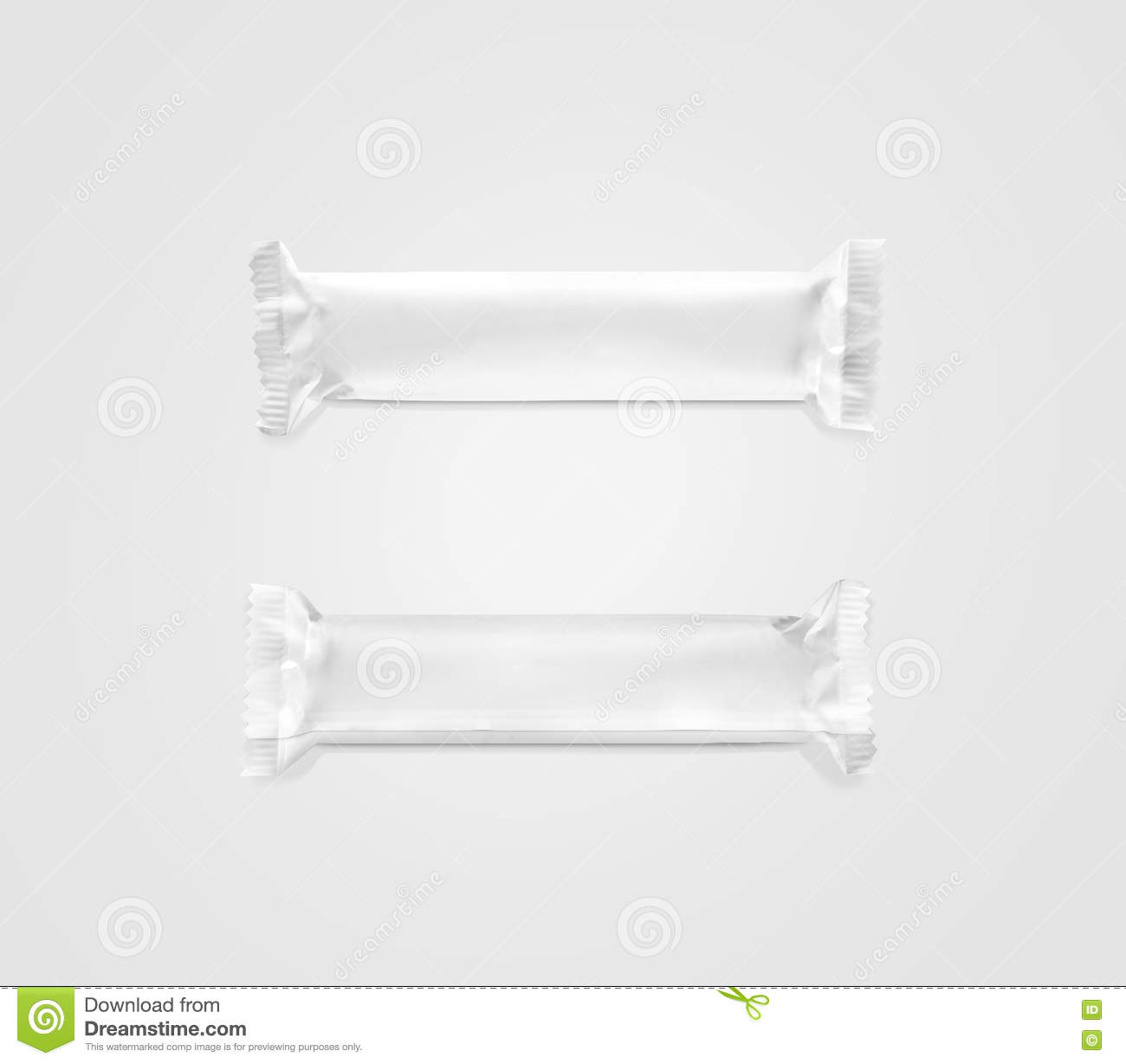 blank white candy bar plastic wrap mockup top and back stock photo