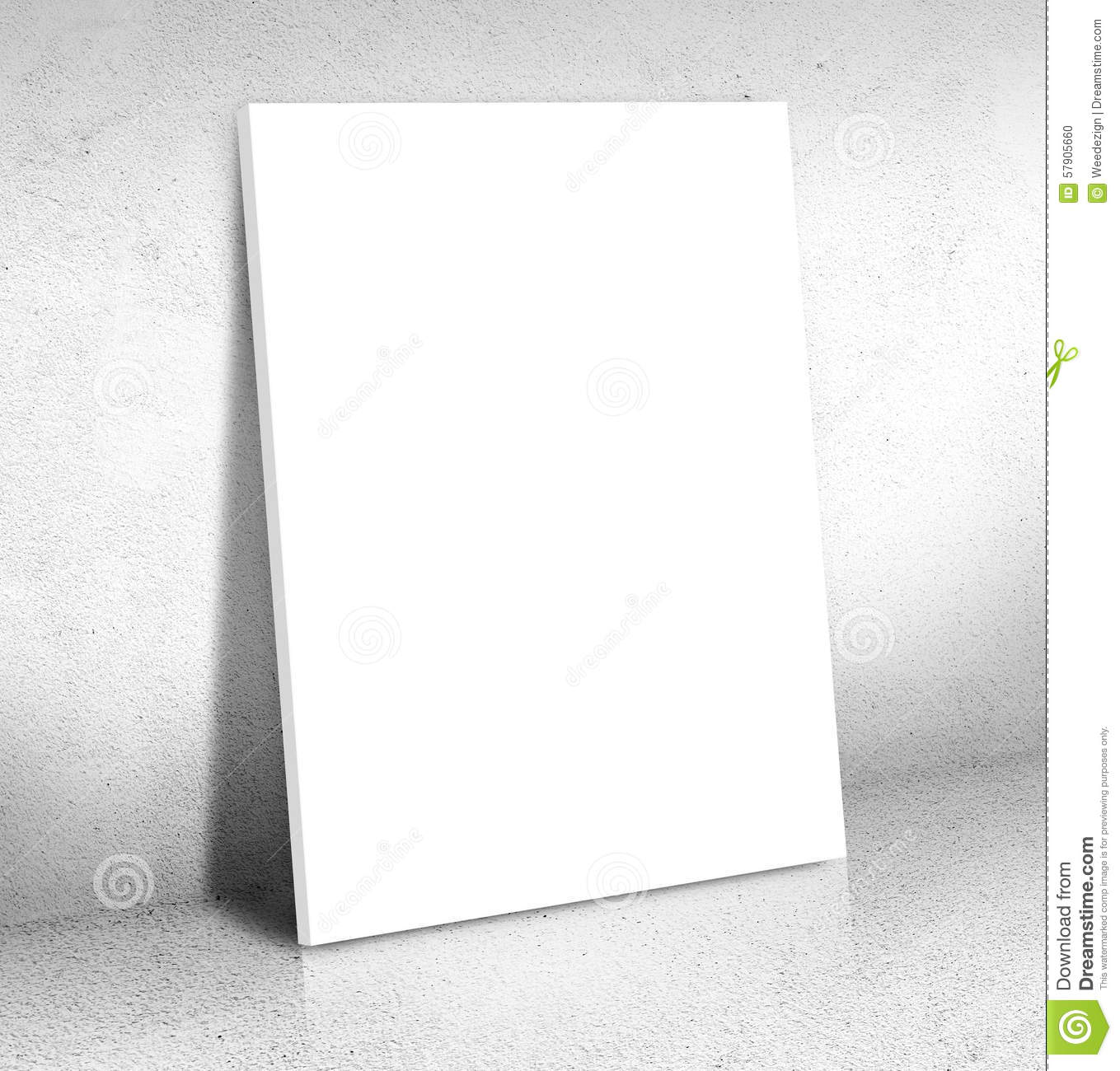 blank white canvas poster leaning at cement room  mock up