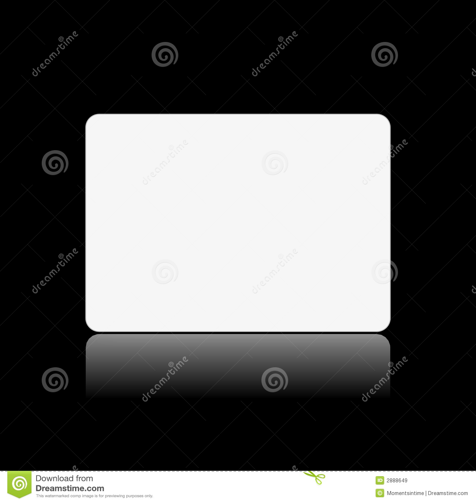 Blank white card on black