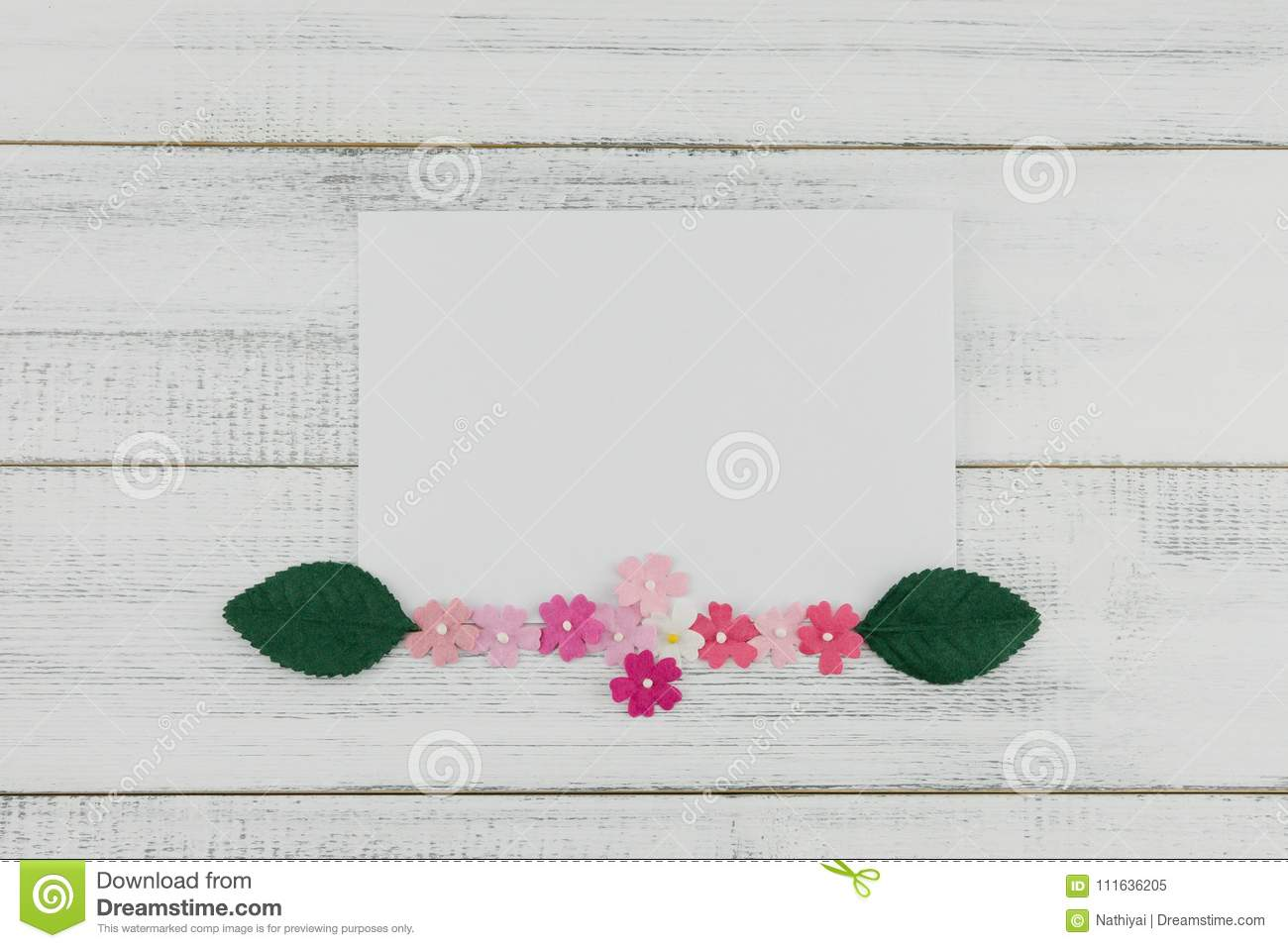 f28e06b919d Blank White Card Decorate With Pink Paper Flowers And Green Leaves ...