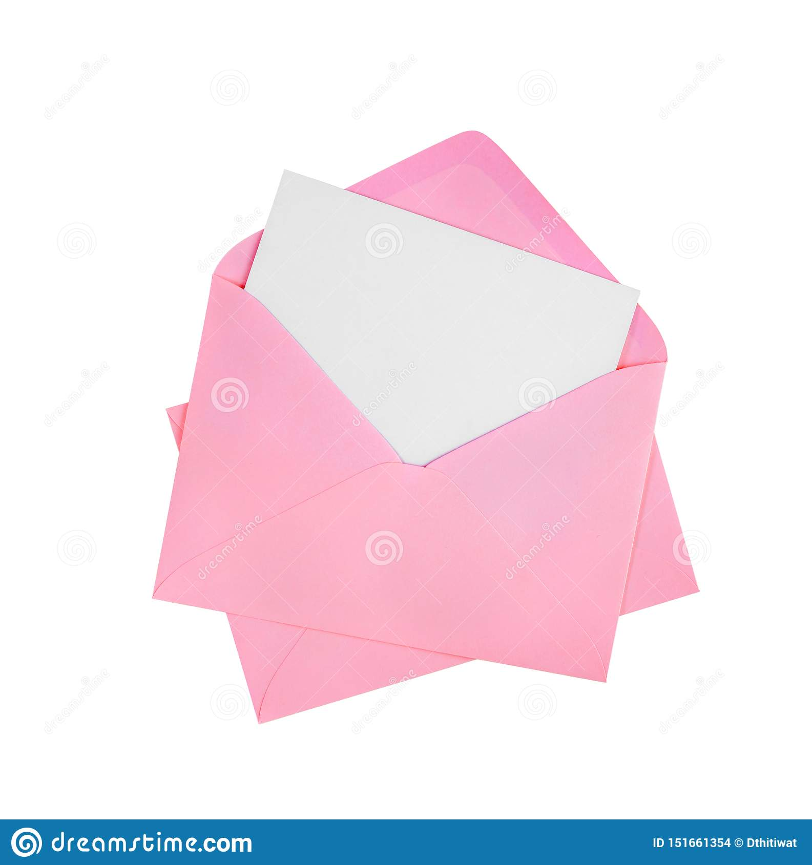 White card and pink envelope