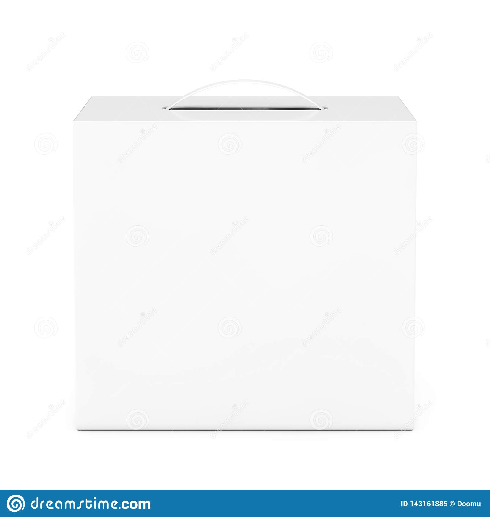 Blank White Cardboard Box Mockup With Plastic Handle  3d
