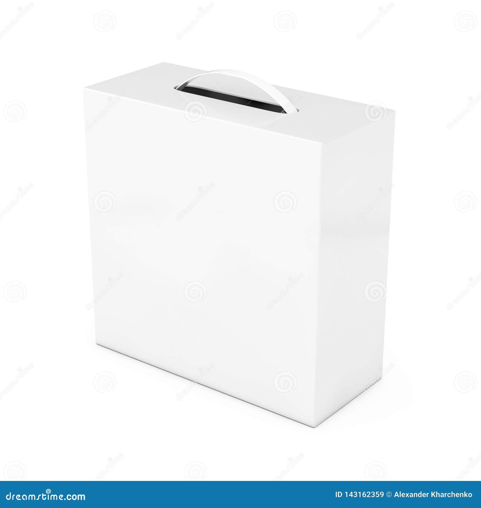 Blank White Cardboard Box Mockup With Plastic Handle  3d Rendering