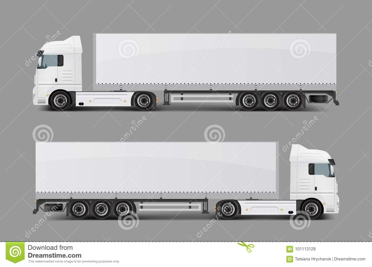 Blank white cargo truck with tented semi trailer side view realistic vector template modern commercial transport for heavy loads transportation