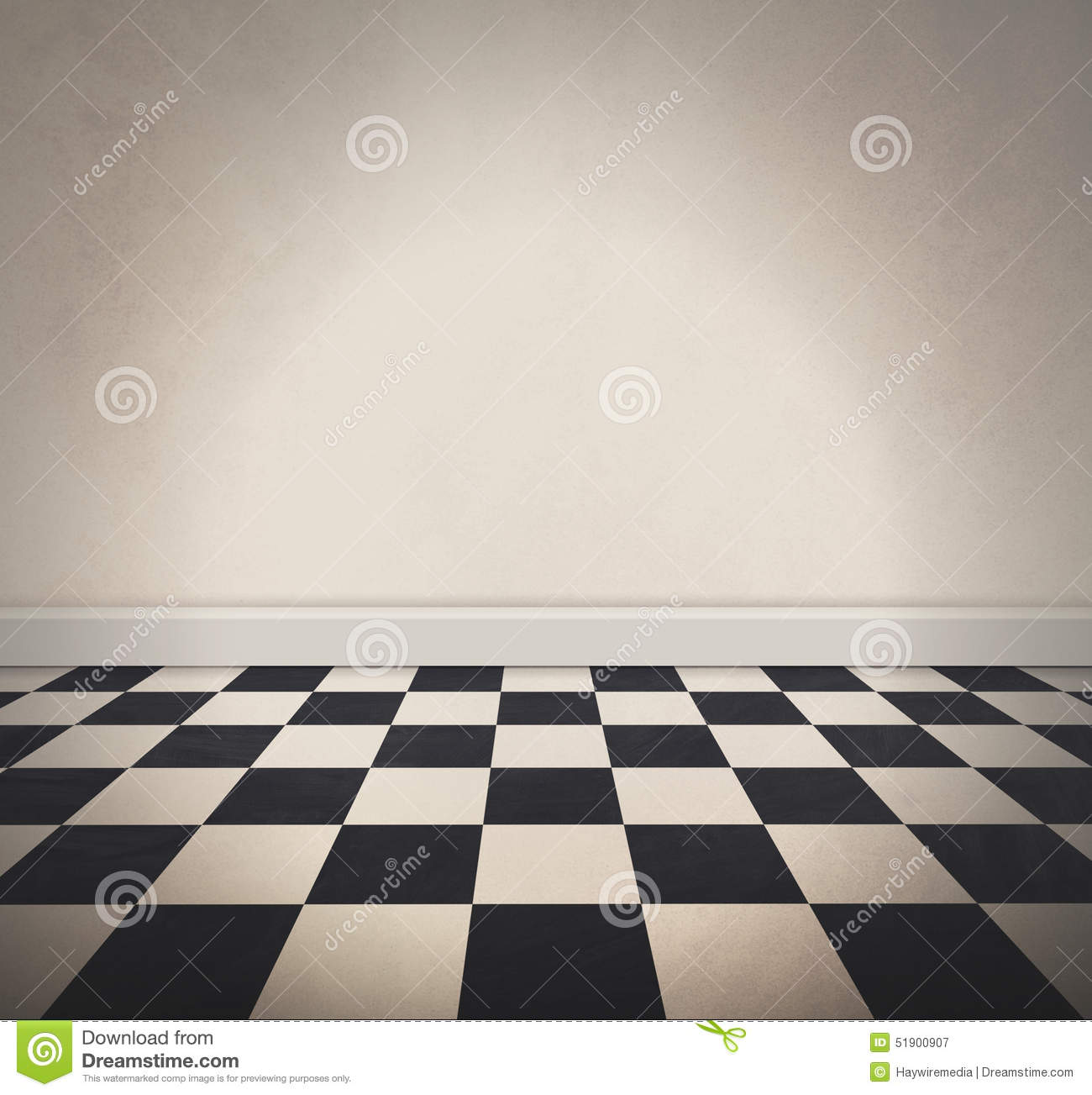 Blank White Checkered Floor And Old Wall Background Stock