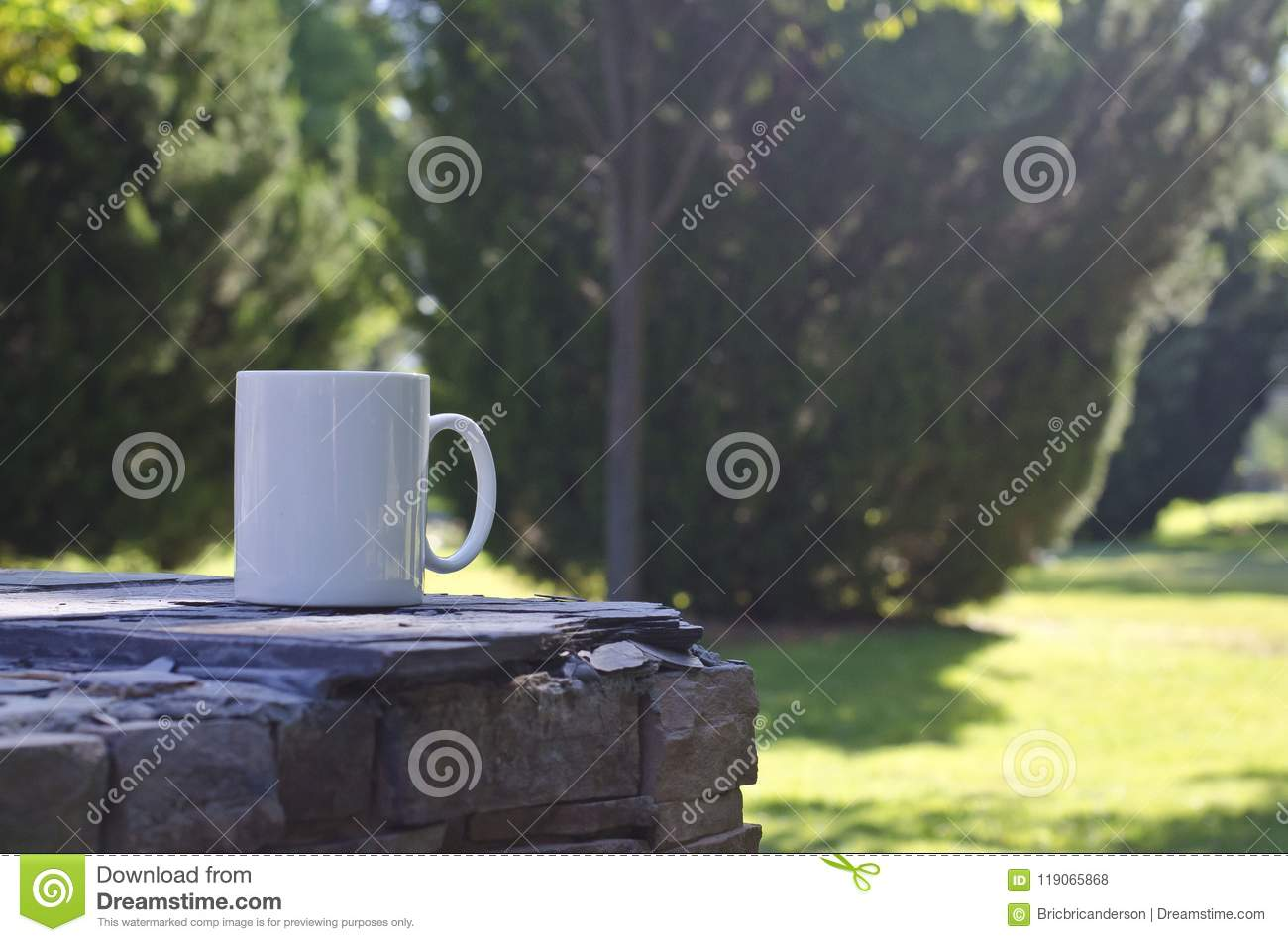 A blank white coffee mug on the ledge in the park