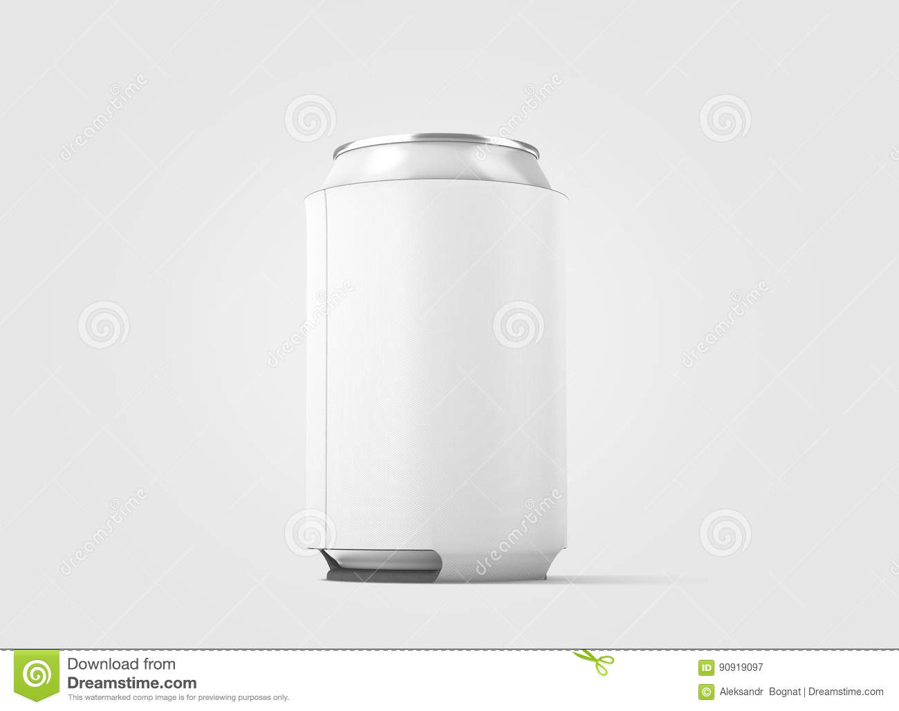 Blank White Collapsible Beer Can Koozie Mockup Isolated