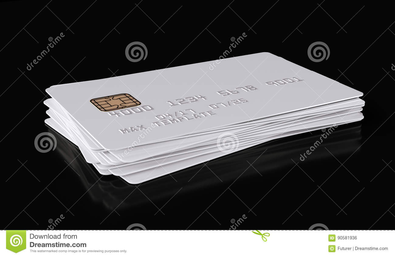 blank white credit card template on black background  3d
