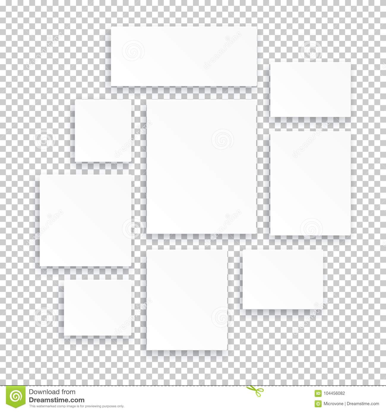 Blank white 3d paper canvas or photo frames isolated on transparent background