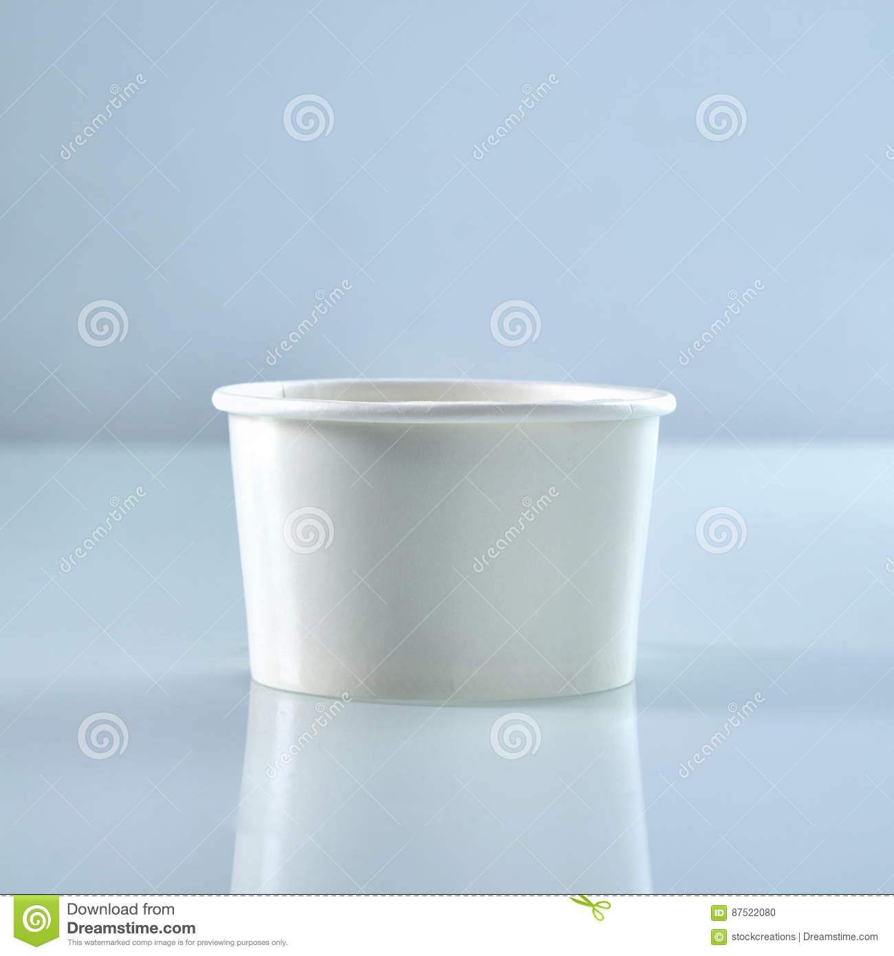 Blank White Disposable Food Tub Stock Photo - Image of reflection ...