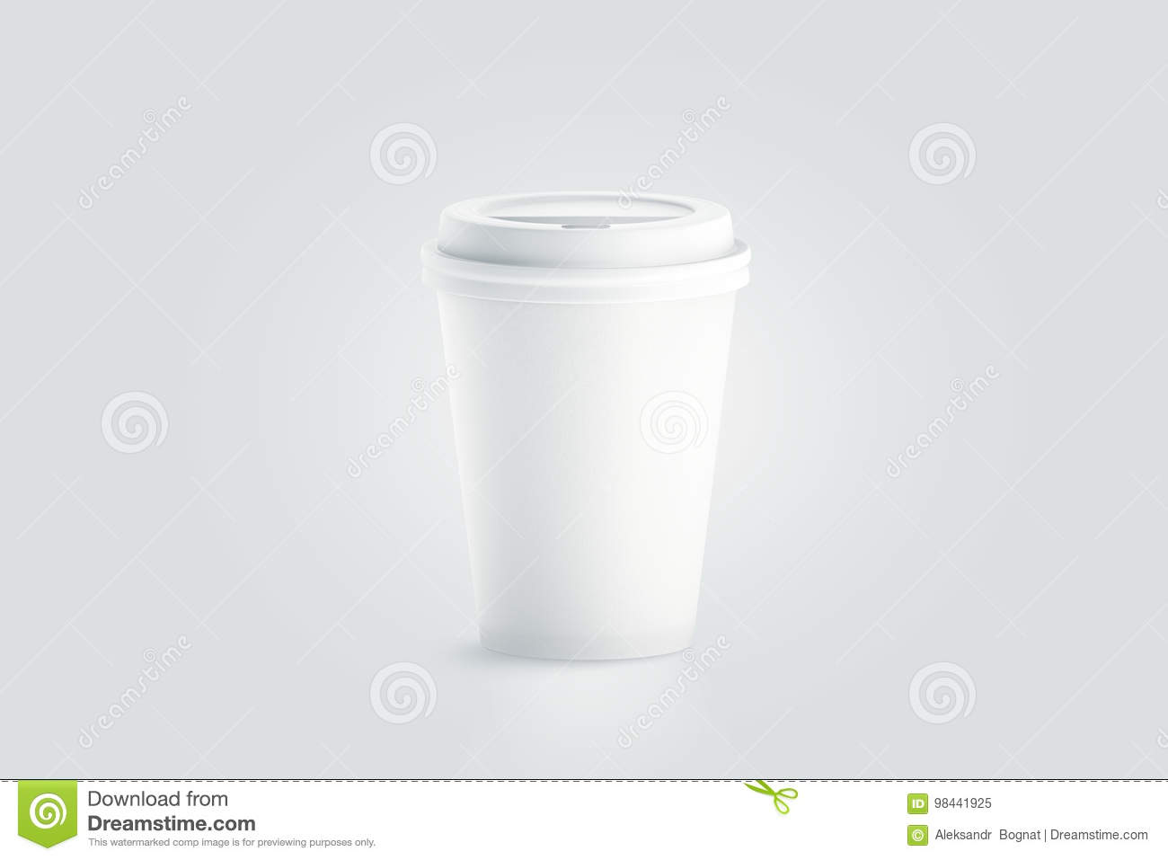 Blank White Disposable Paper Cup With Plastic Lid Mock Up Stock