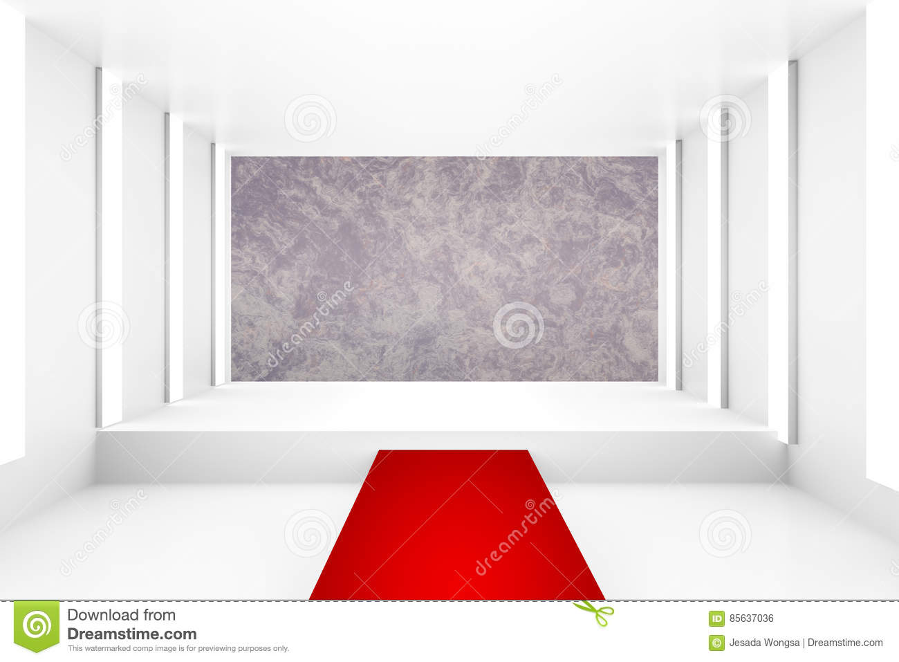 blank white empty podium with red carpet for backdrop design
