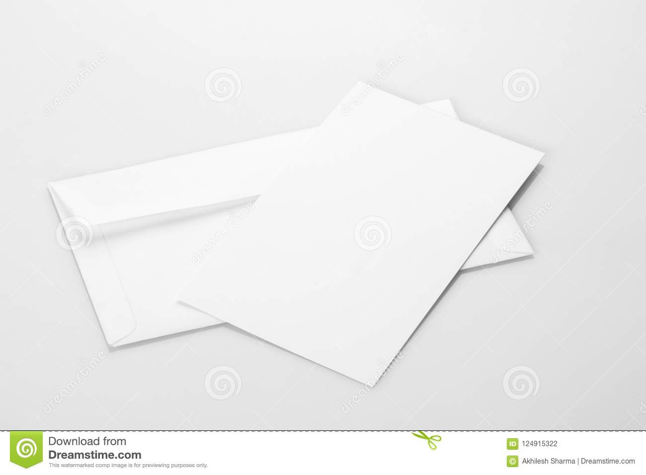 Blank White Envelope Mockup With An Invitation Card Stock