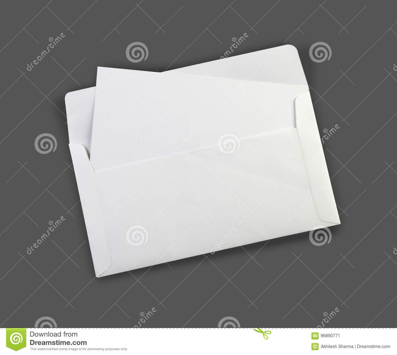 blank white envelope mockup with a invitation card stock