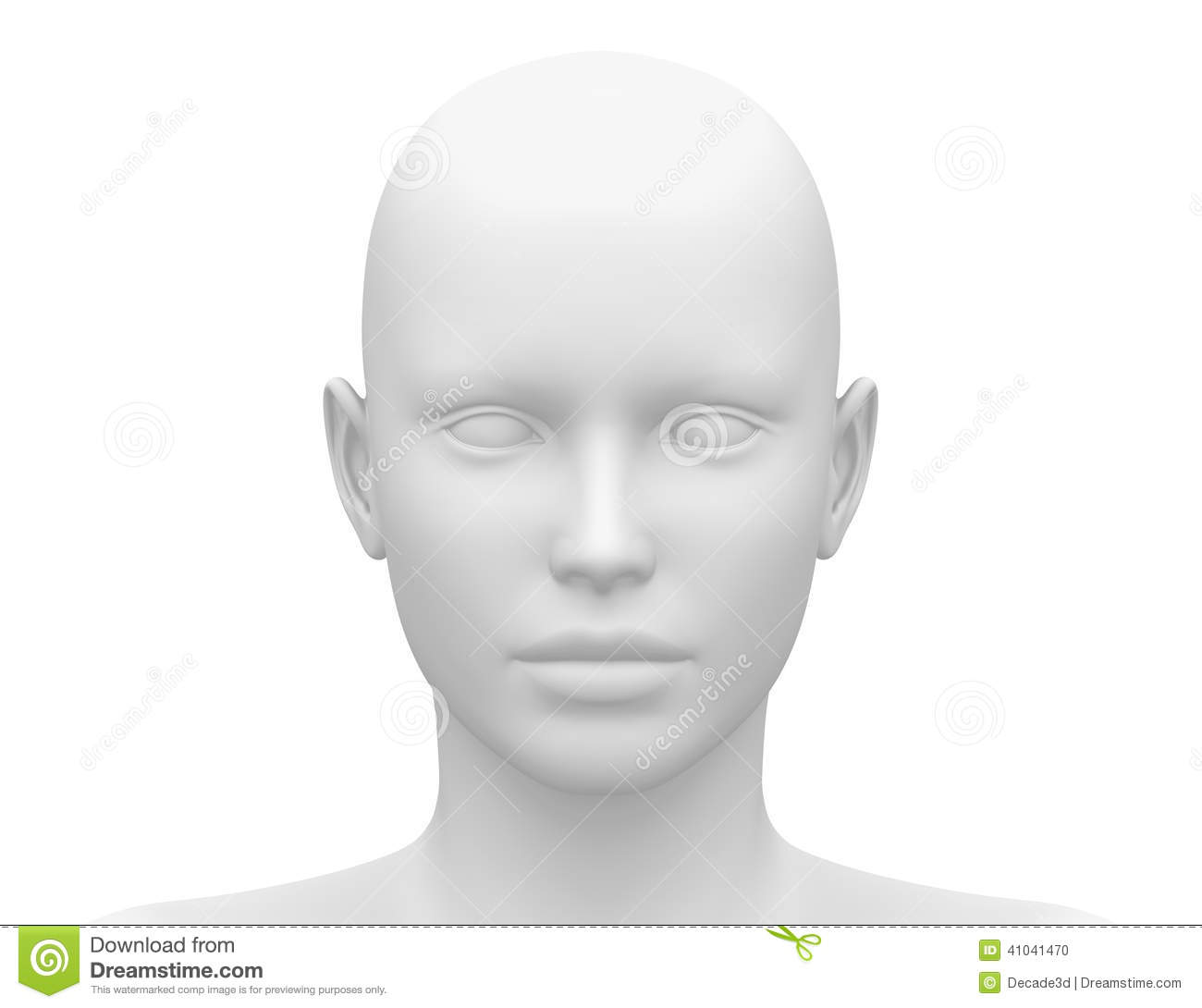 blank white female head front view stock illustration