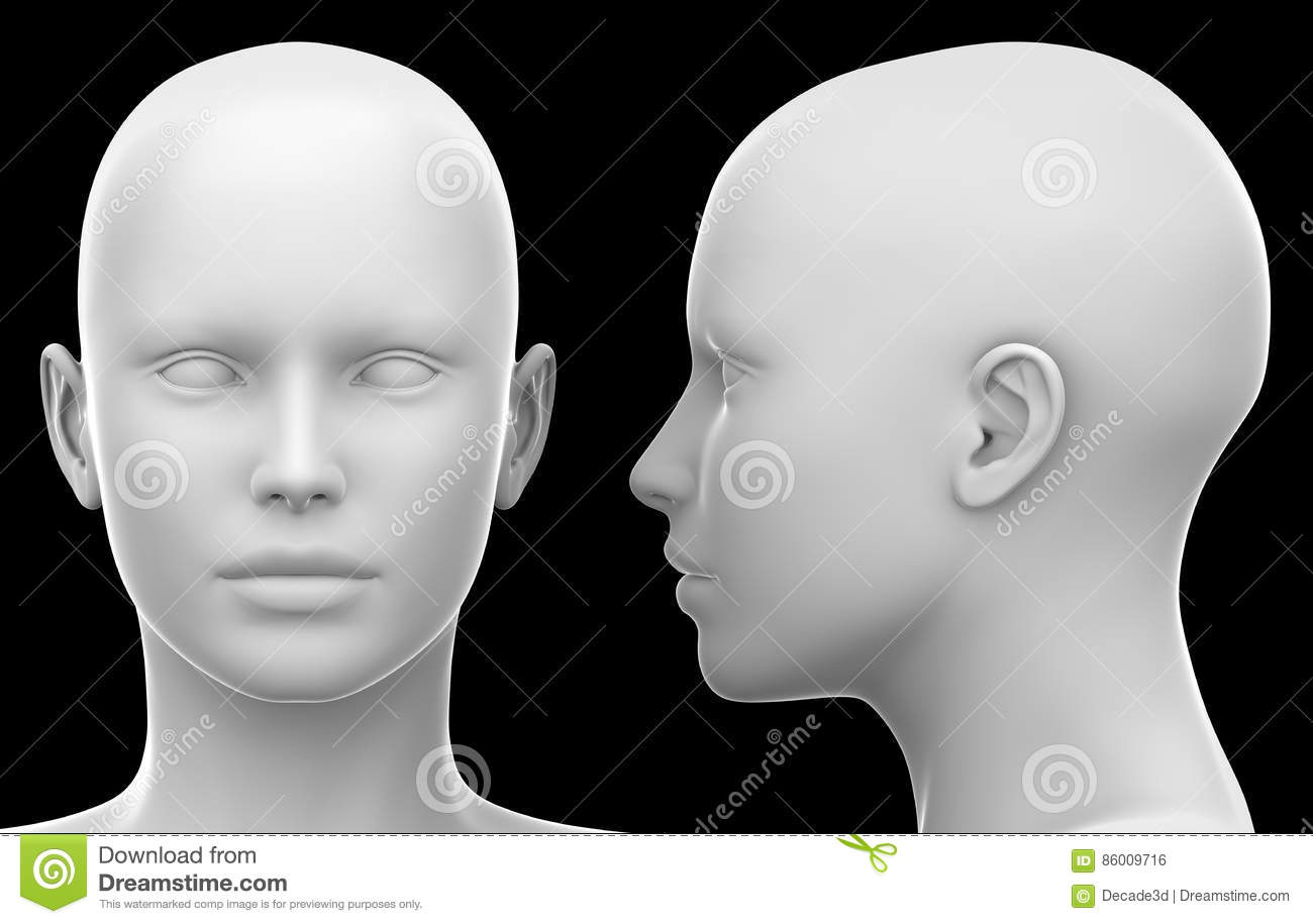 blank white female head side and front view isolated on black