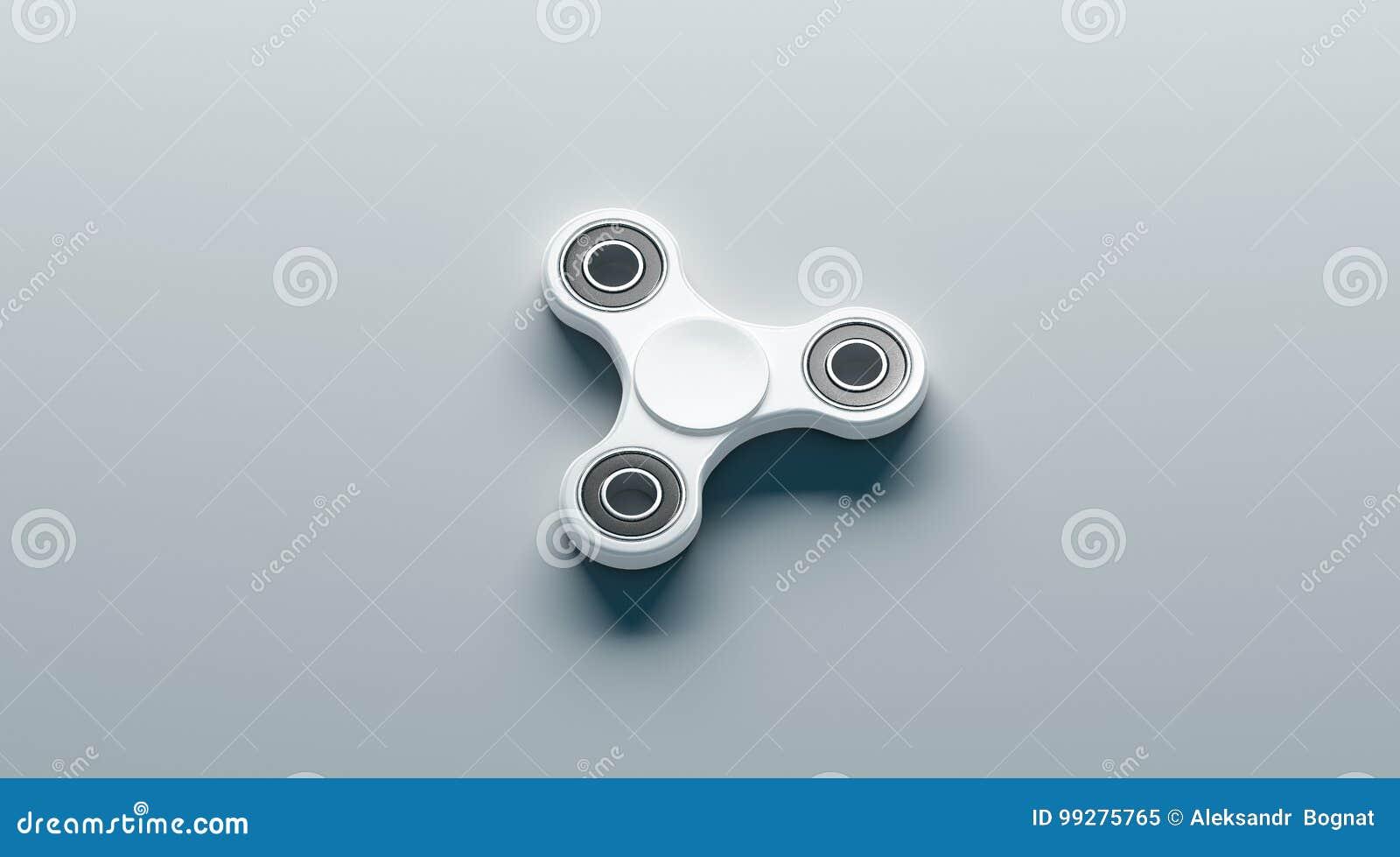 Blank White Fidget Spinner Mock Up, Side View Stock Illustration