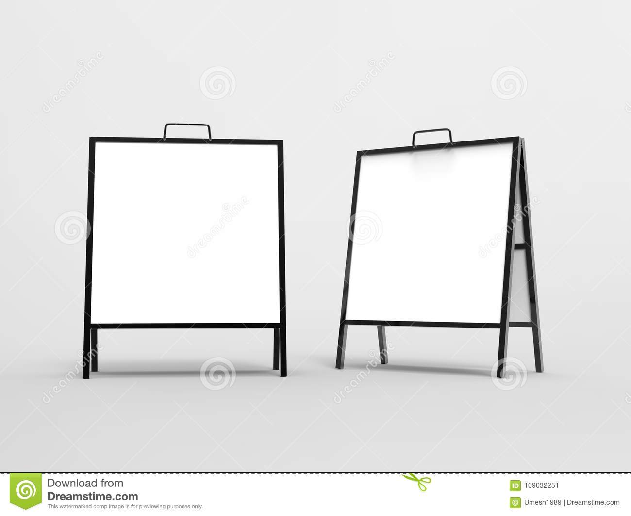 Blank White A Frame Metallic Outdoor Advertising Stand Mockup Set ...