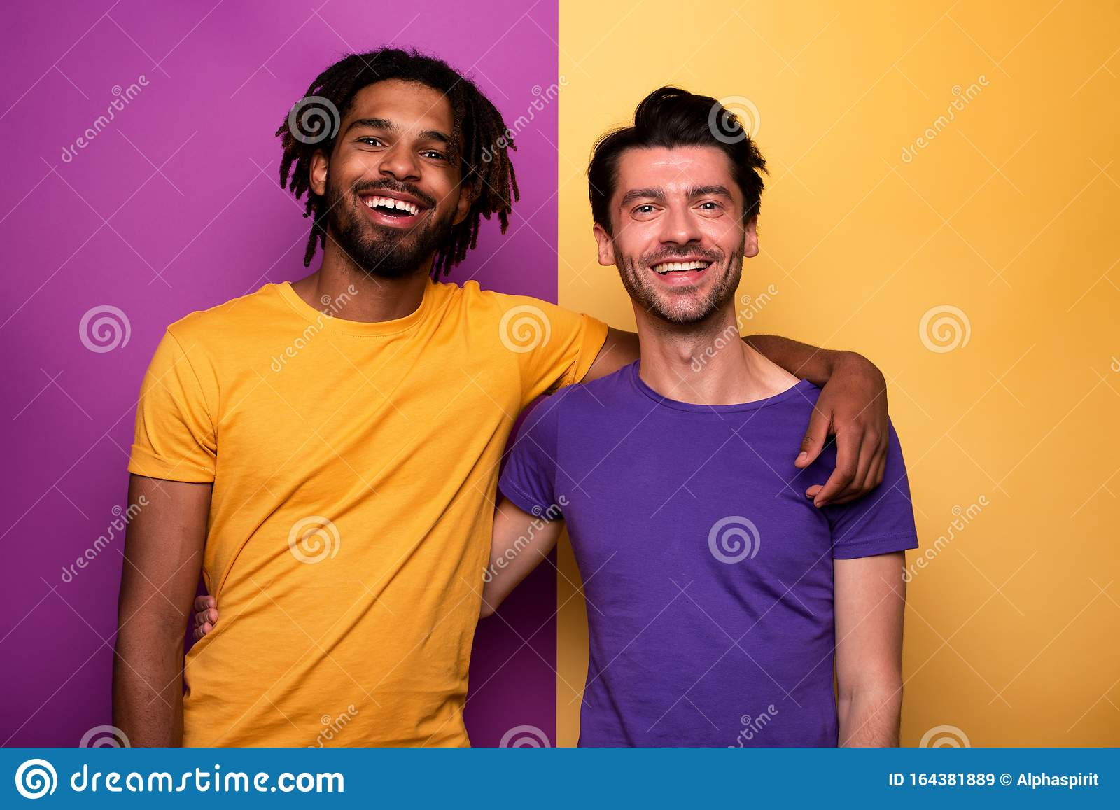 Blank and white friends. Concept of integration, union and partnership. Yellow and violet background