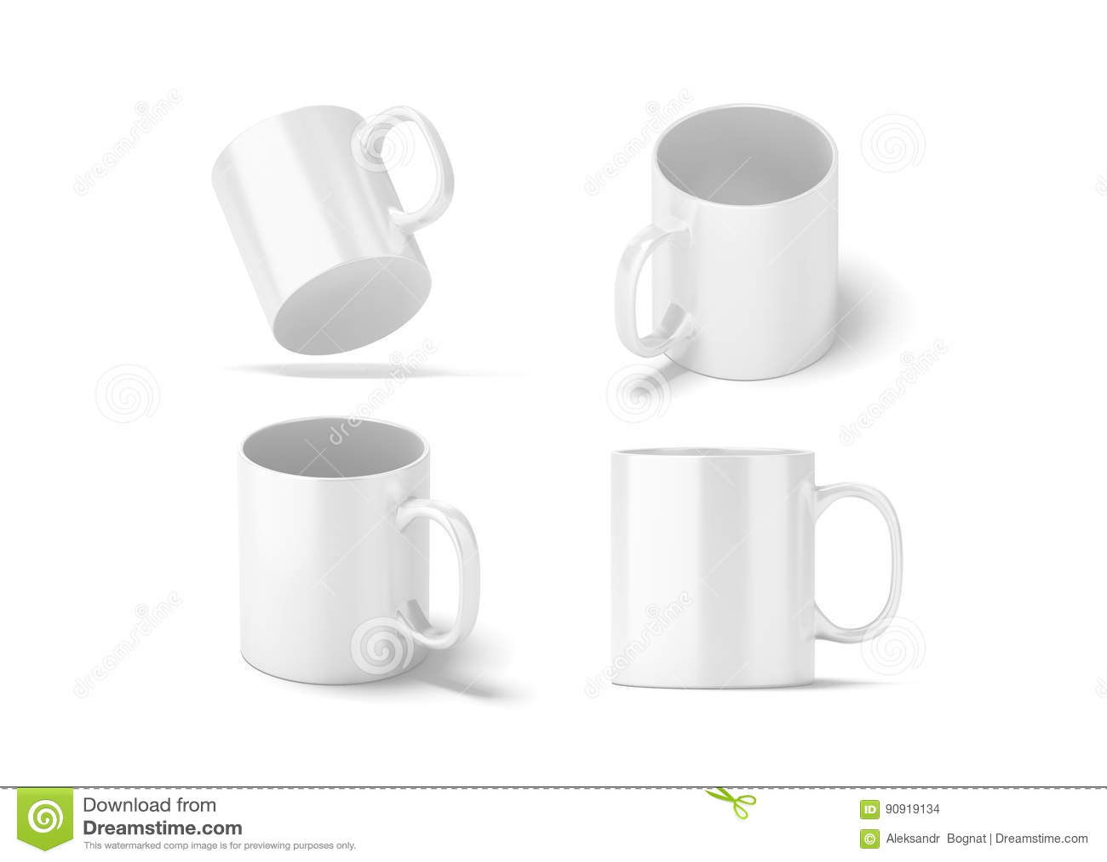 726a5f1e0c7 Blank White Glass Mug Mockups Set Isolated, 3d Rendering. Stock ...