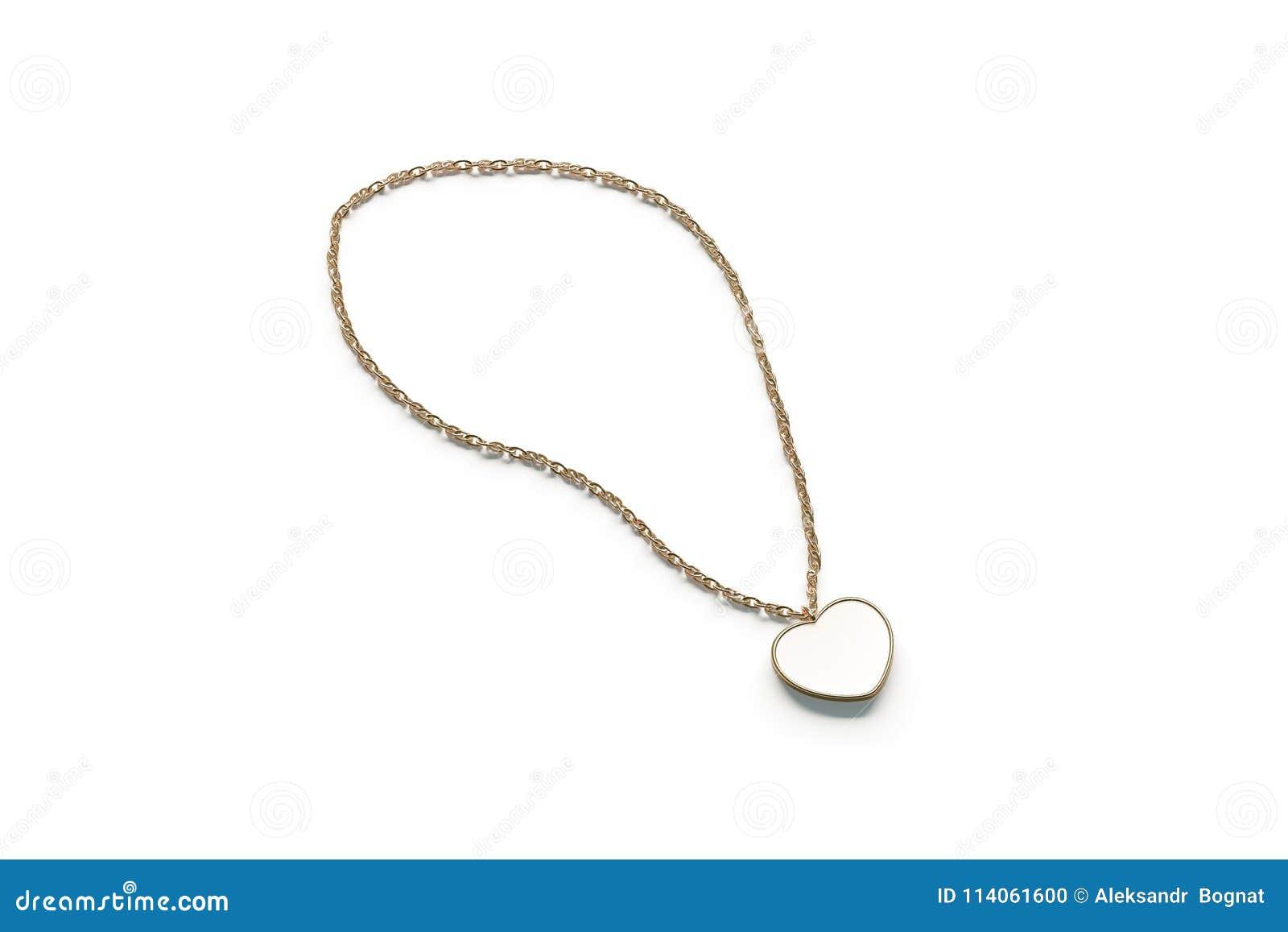 Blank White Golden Pendant Heart Mockup Isolated, Stock Photo