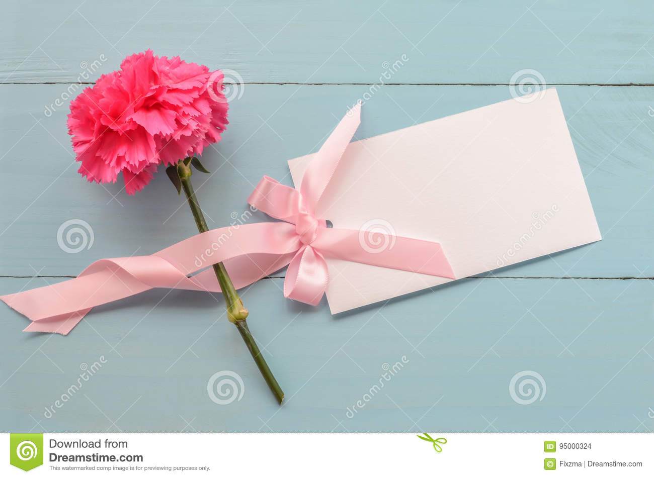 Blank White Greeting Card With Pink Carnation Flower Stock Photo