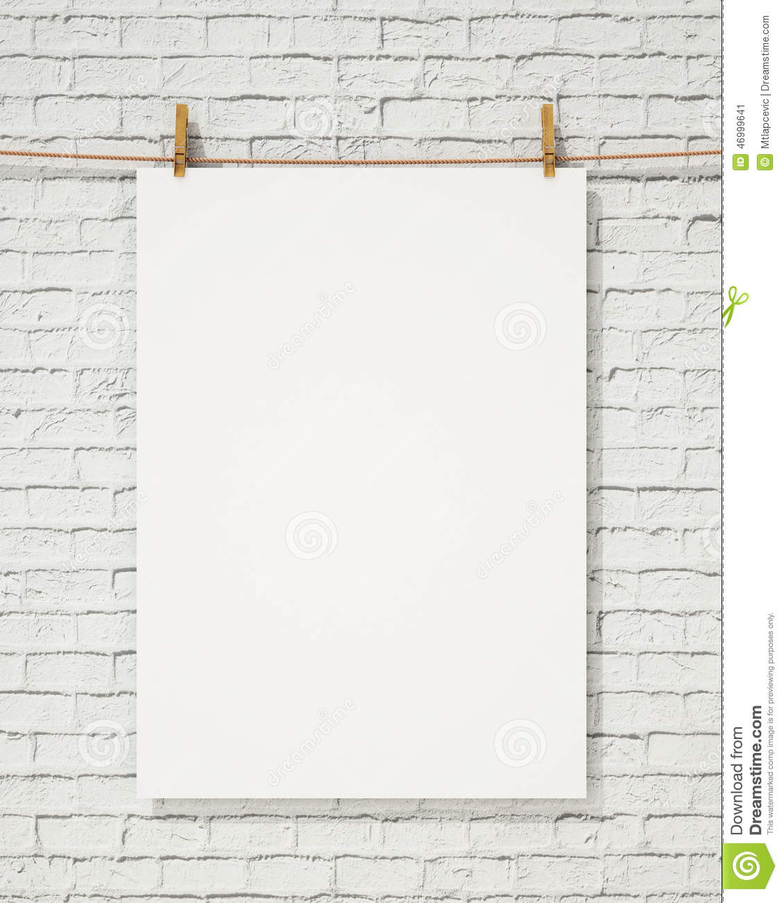 Blank White Hanging Poster With Clothespin And Rope On