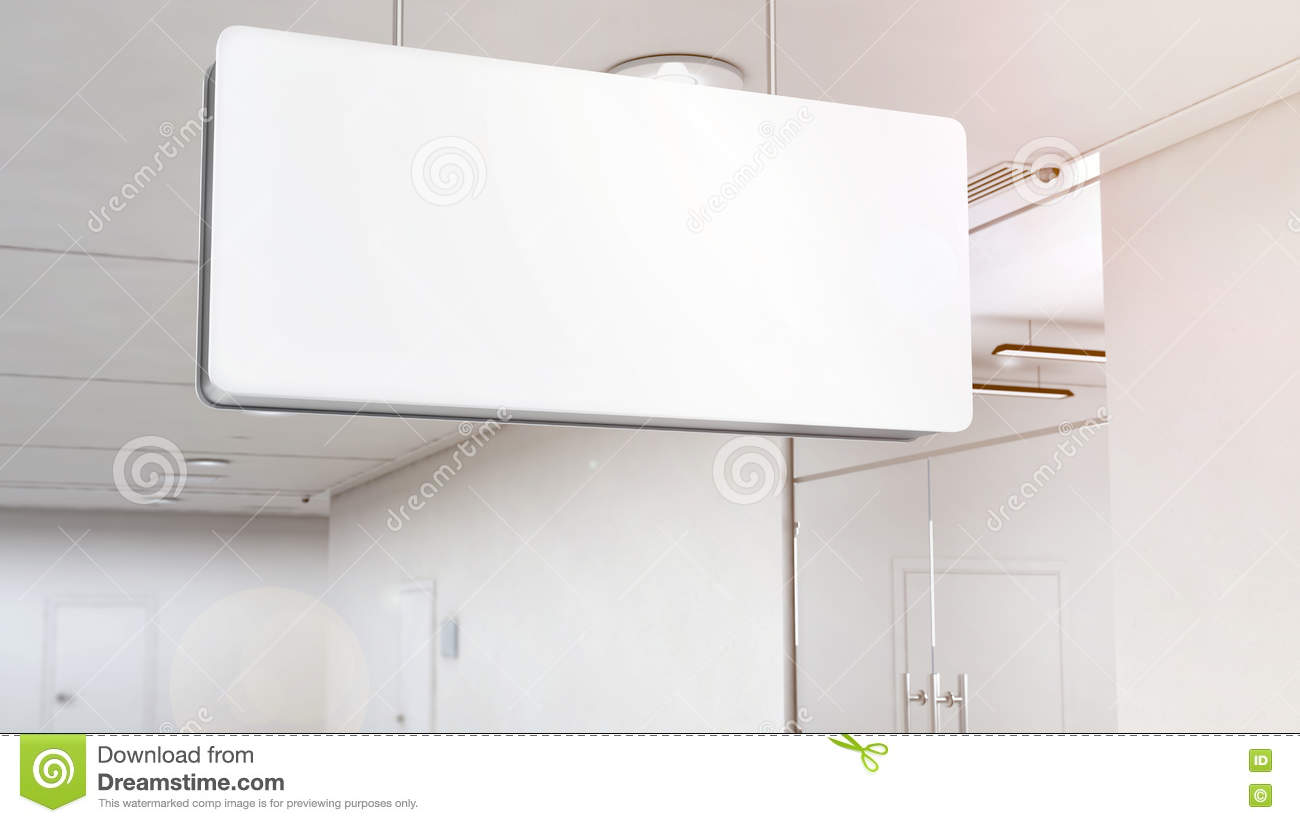 Blank White Light Signage Mockup Hanging On Ceiling, Clipping Path ...