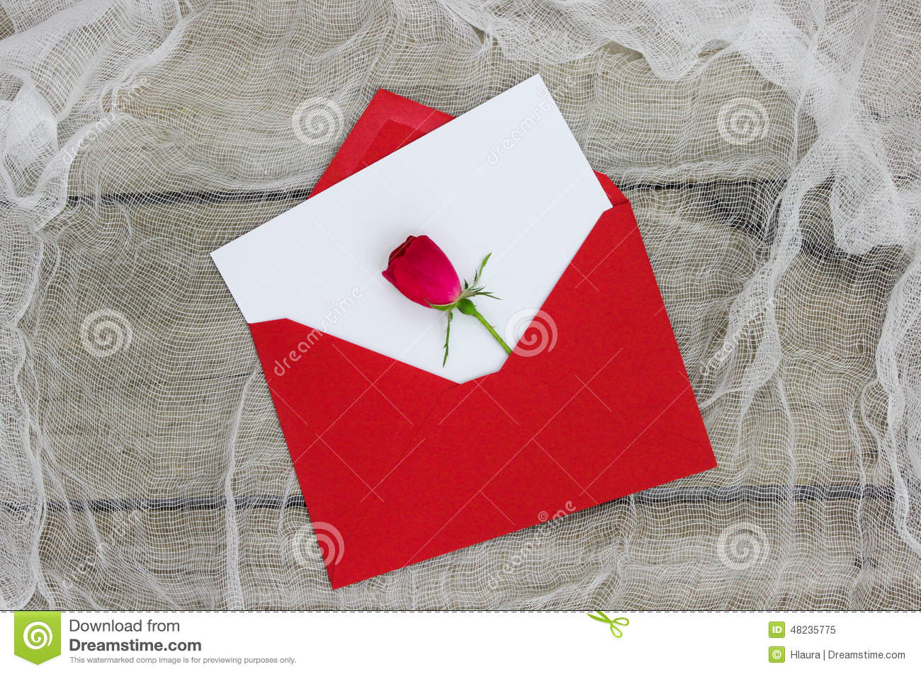 Blank White Love Letter And Red Envelope With Single Red Rose Stock Photo - Image: 48235775