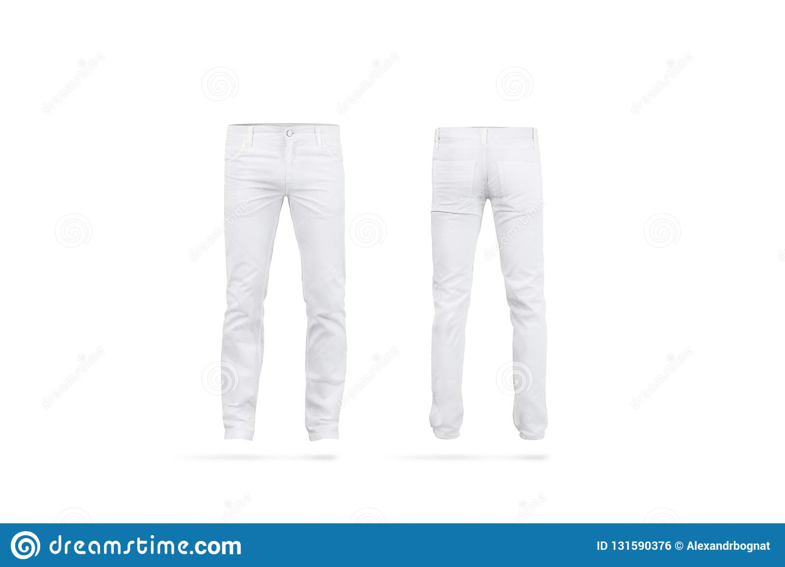 fe59d0bf42ad Blank white mens pants mock up, isolated, front and back side view. Empty  classic male trousers mockup. Clear denim clothing for work template.