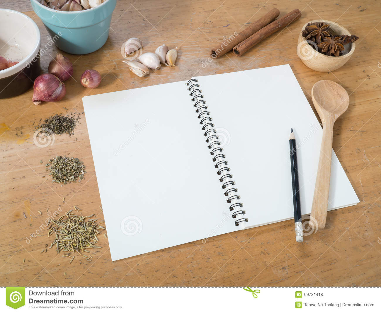 Blank White Menu Paper Template Background And Spicy Herb Ing Stock ...