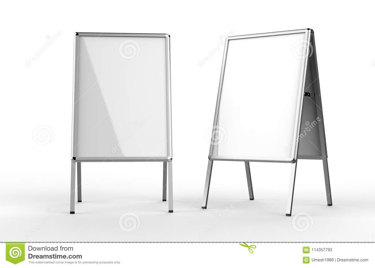 Blank white metallic outdoor advertising stand isolated, Clear street signage board mock up. A-board with metal frame template. 3d