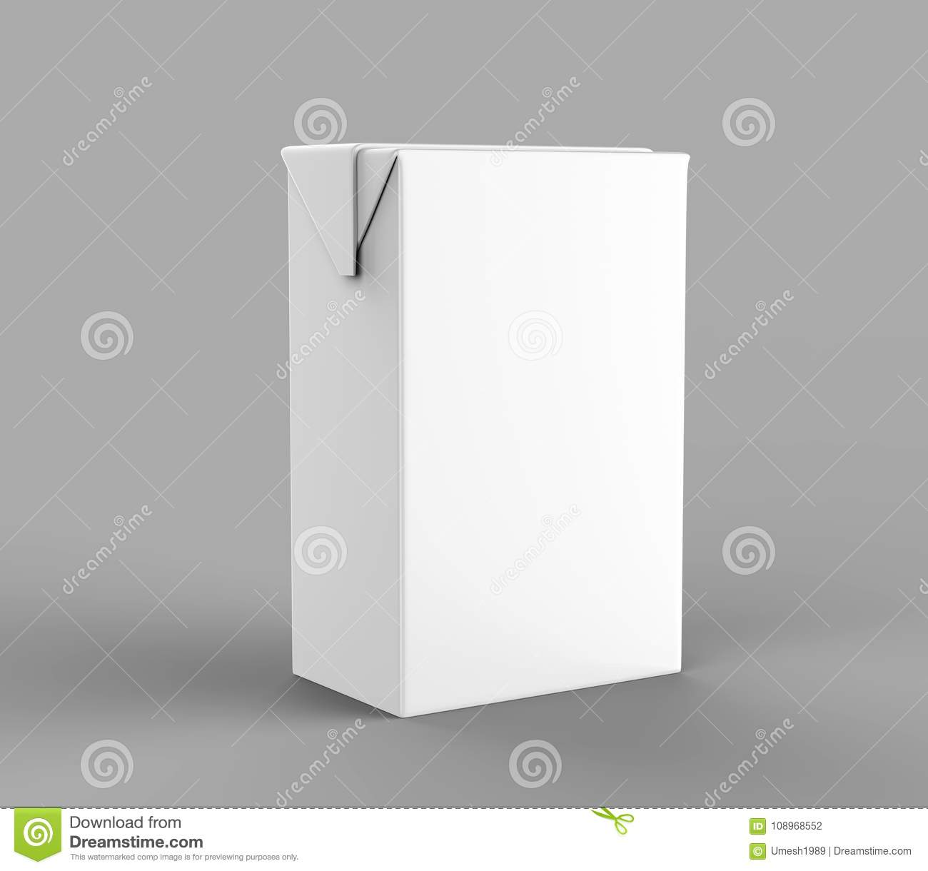 Blank White Packet Carton Juice Milk Pack With Straw Realistic Rendering For Mock Up