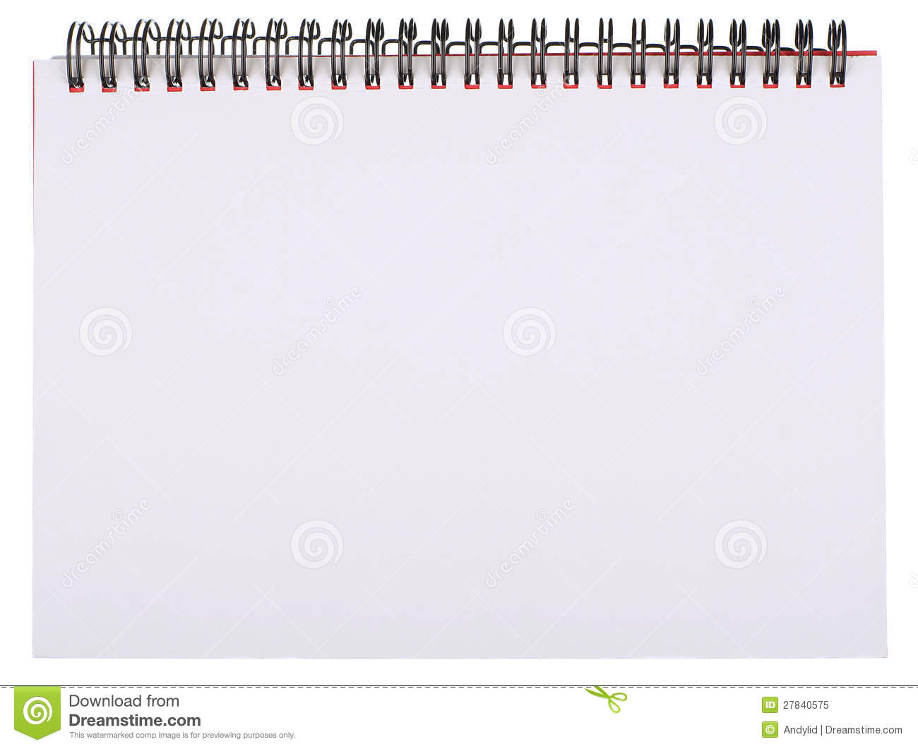 Blank White Page of Spiral Bound Notepad Isolated on White.
