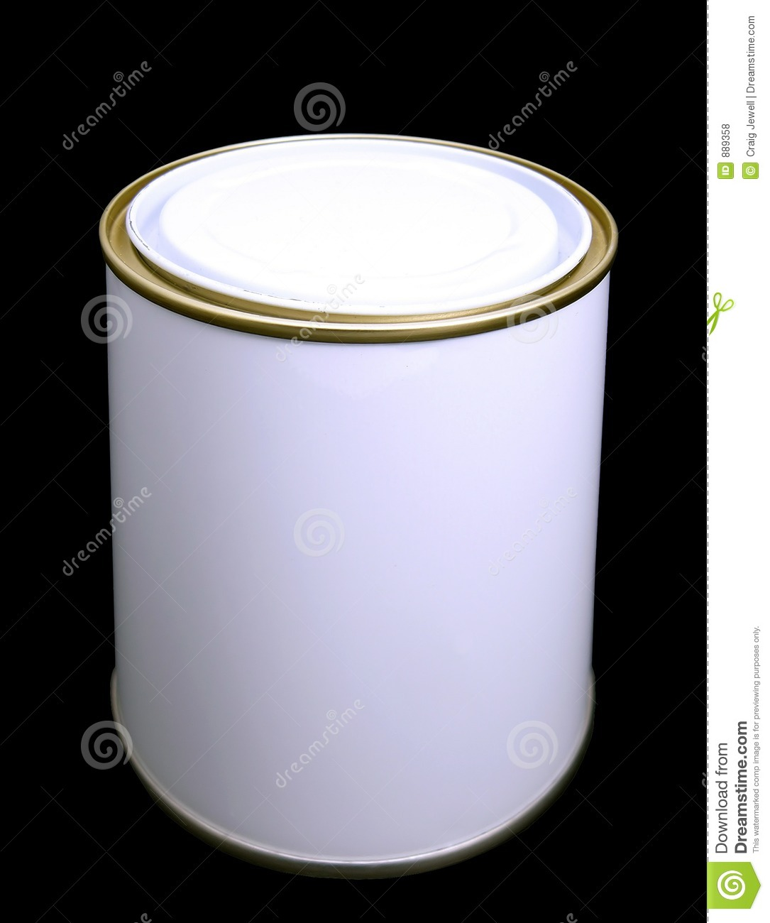 Blank White Paint Tin With Clipping Path Stock Photo