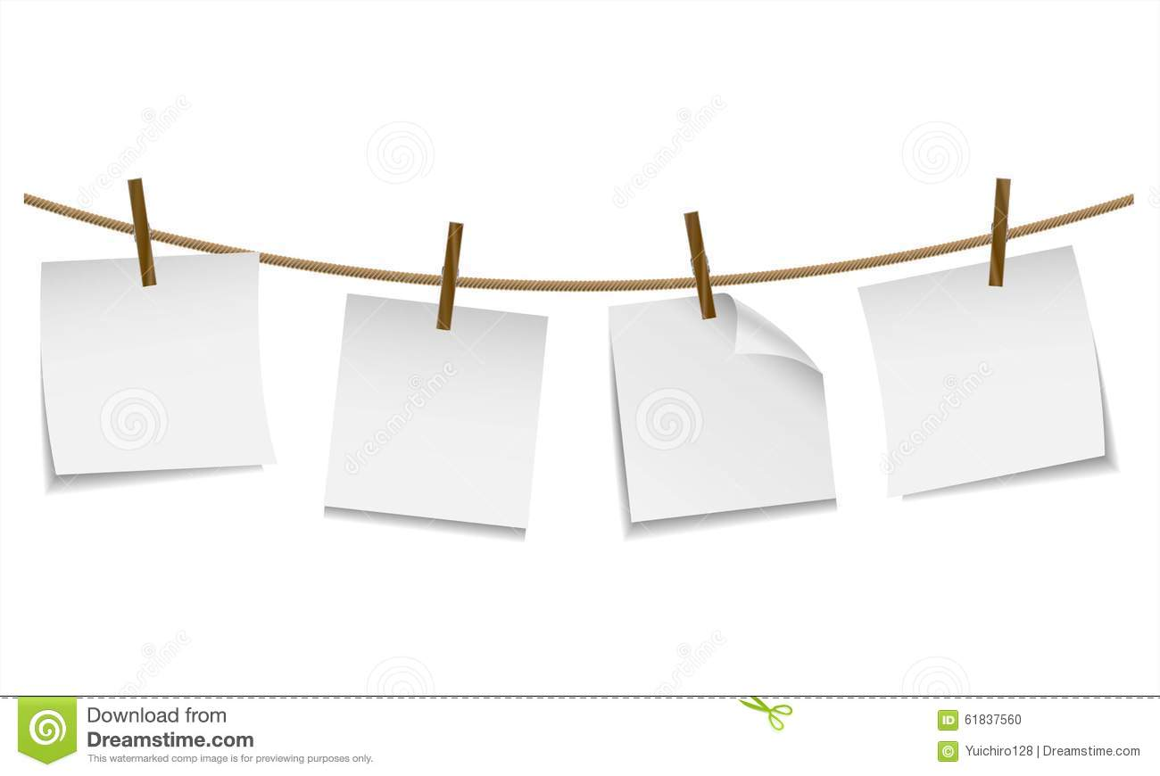 Blank white paper hanging on clothesline with clothespin - Cadre photo avec pince linge ...