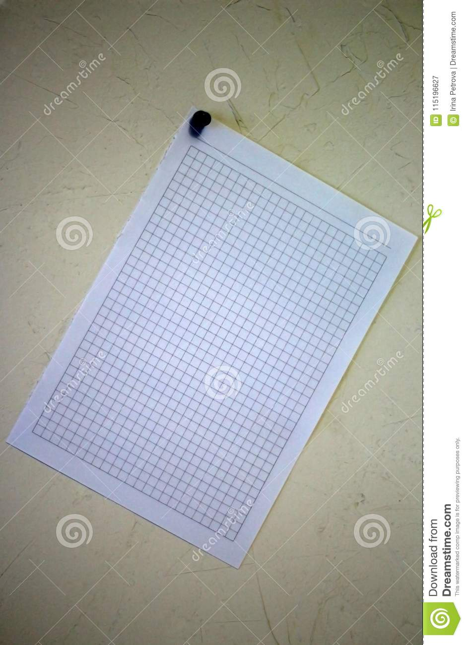 White Sheet Of Paper Fixed On The Wall Fixed Button Stock Image