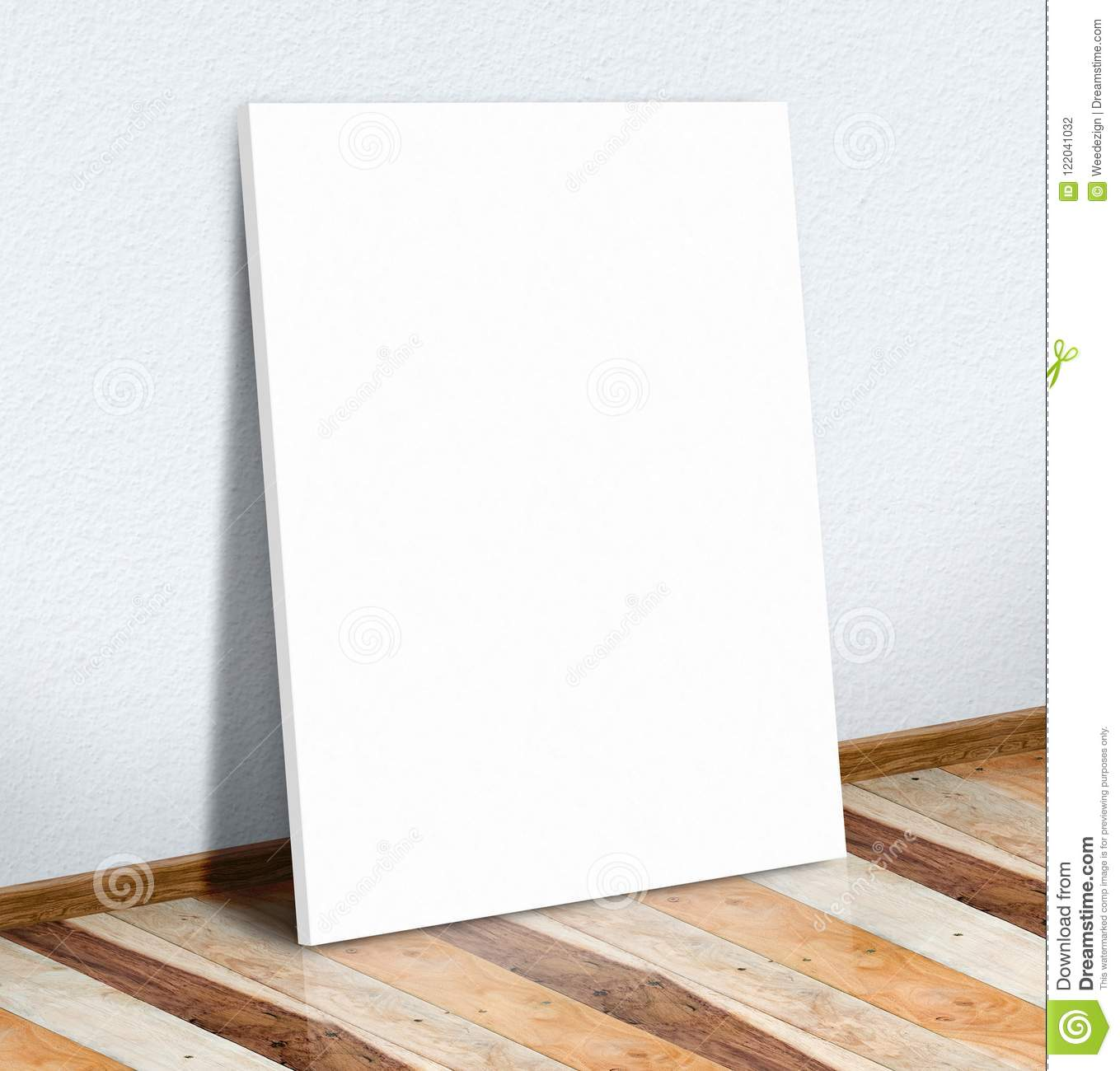 Blank white paper poster on white wall and wooden floor,Mock up
