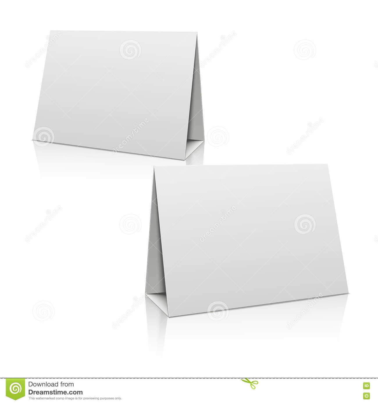 Blank white paper stand table holder card 3d vector for Cardboard brochure holder template