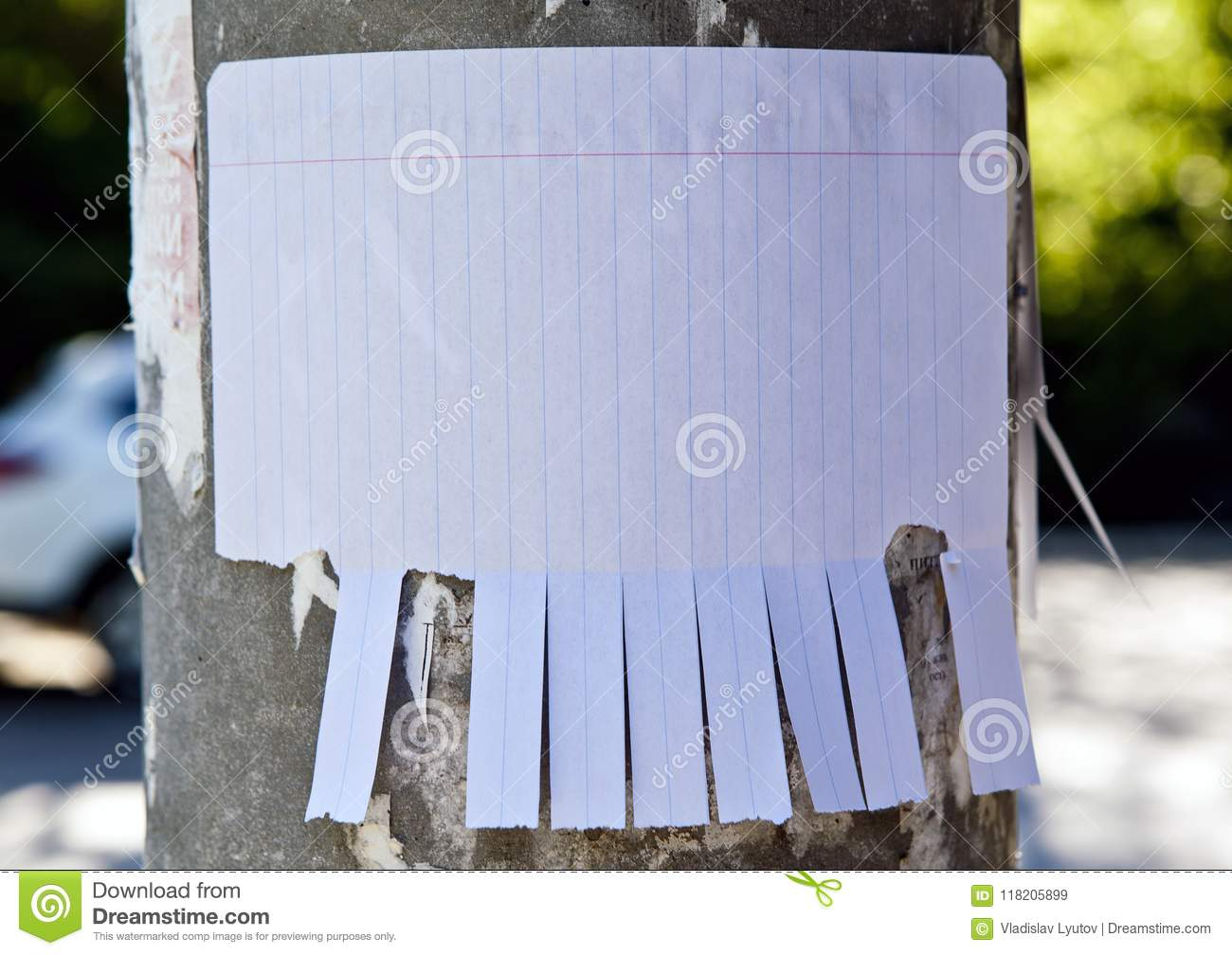 blank white paper with tear off tabs stock image image of empty
