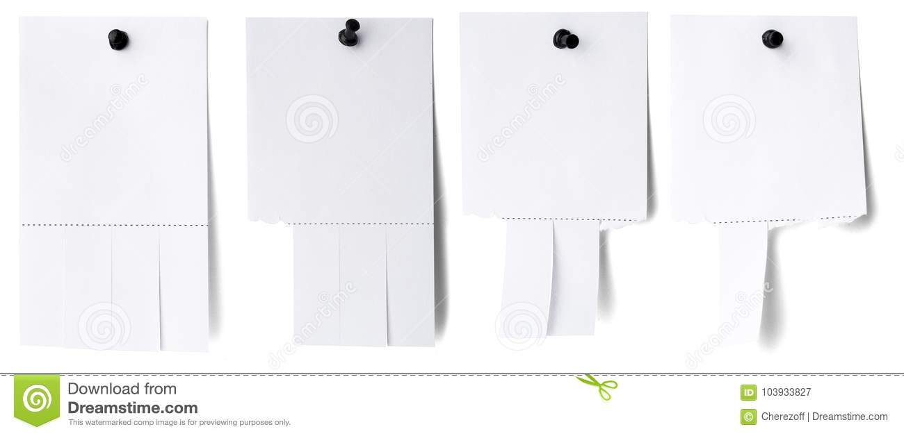 Blank White Paper With Tear Off Tabs Stock Image - Image of ...