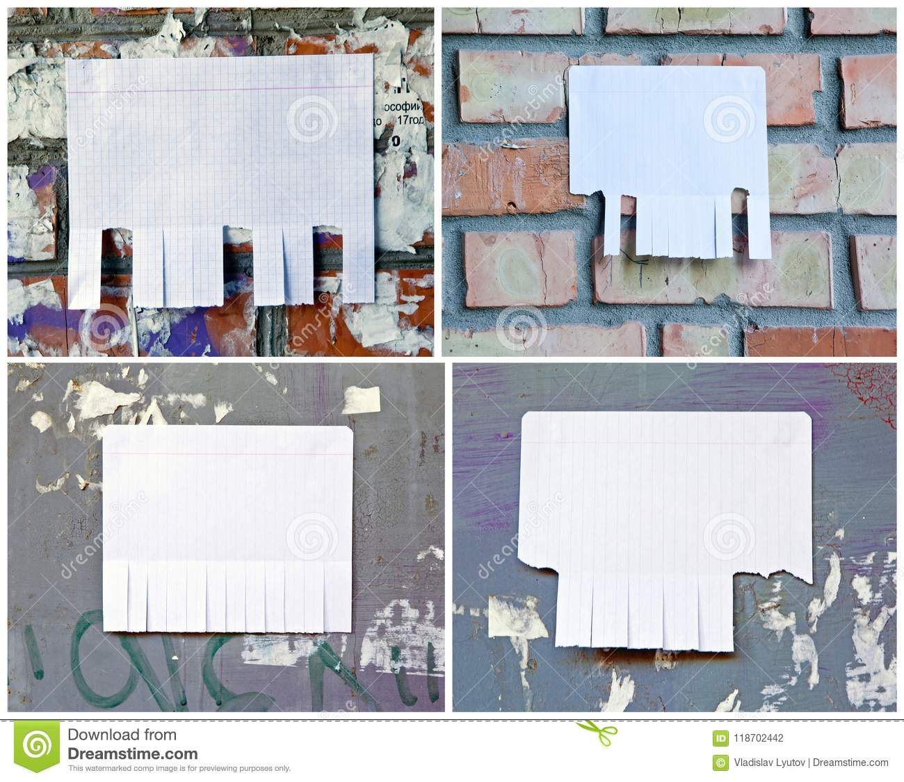 blank white paper with tear off tabs stock photo image of announce